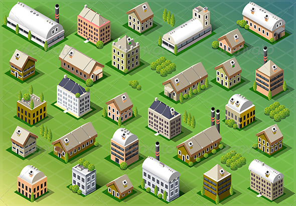 GraphicRiver Set of Isometric Building in Spring 6869749