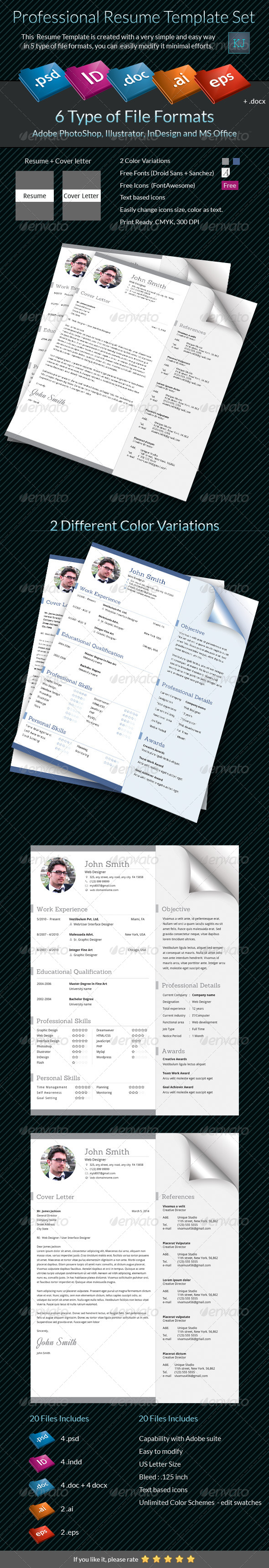 GraphicRiver Professional Resume Template Set 6812930