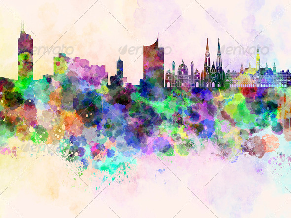 Vienna skyline in watercolor background - Stock Photo - Images