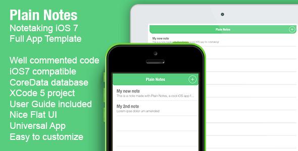 CodeCanyon Plain Notes Notetaking Full iOS App 6870205
