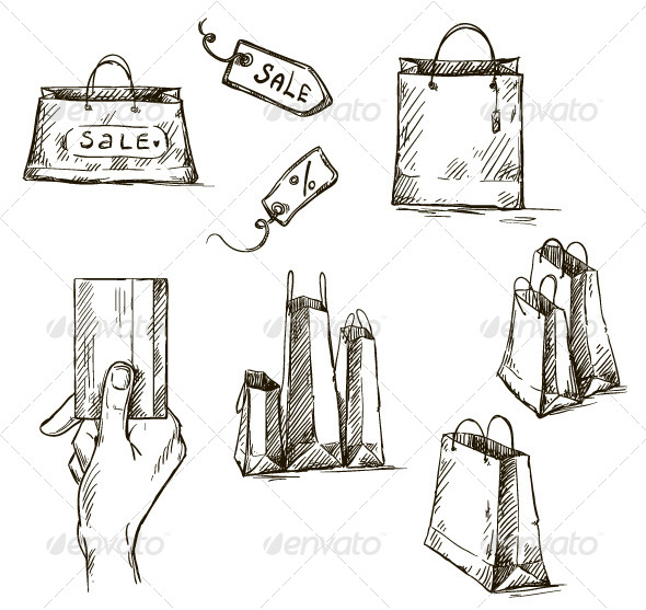 GraphicRiver Shopping Icons Sale Tag Paper Bags 6870210