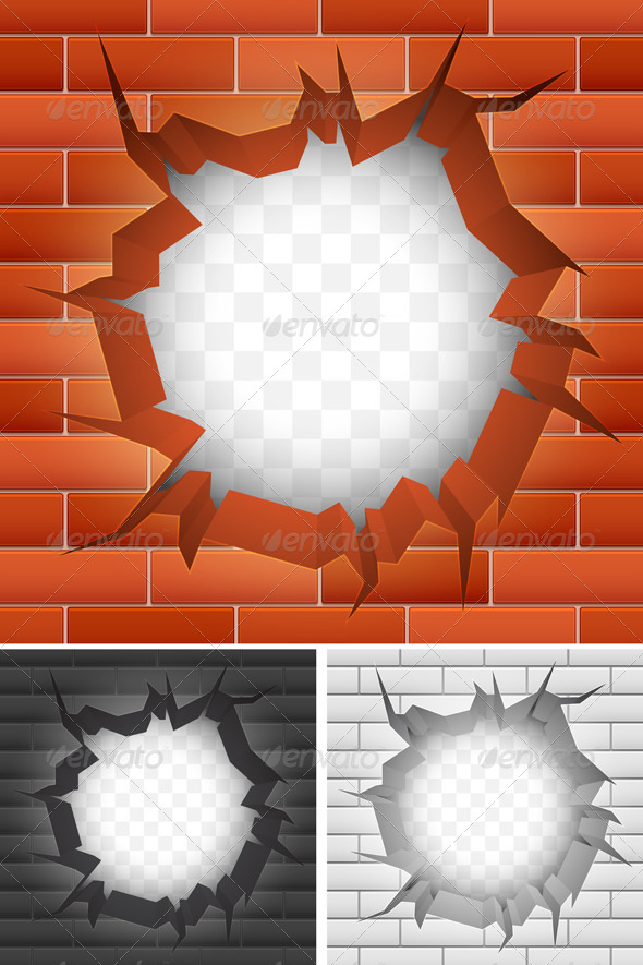 Crack in Brick Wall - Buildings Objects