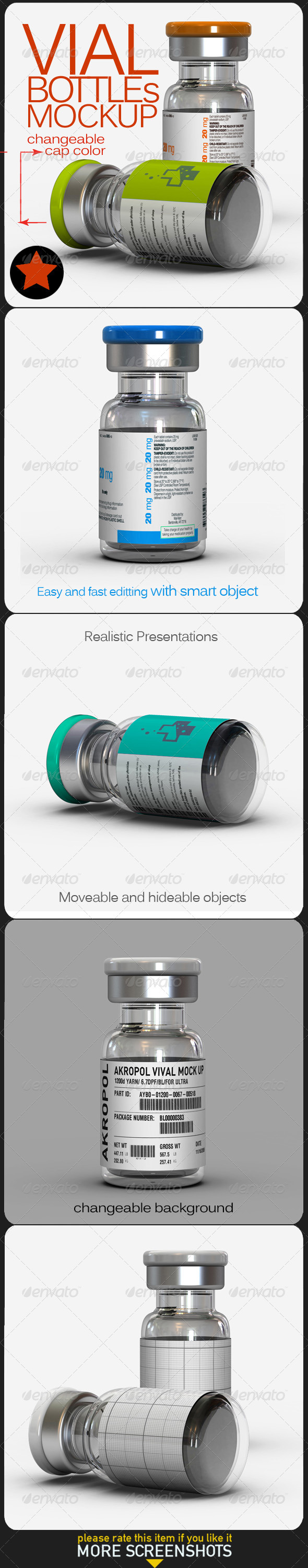 GraphicRiver Vial Bottles Mock Up 6870484