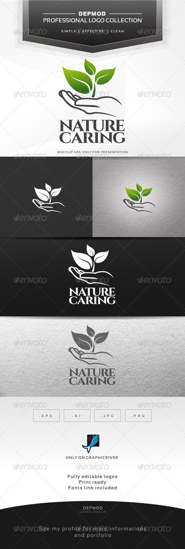 GraphicRiver Nature Caring Logo 6870498