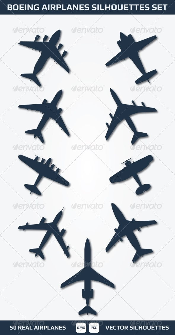 GraphicRiver Boeing Airplanes Silhouettes Set 6870502