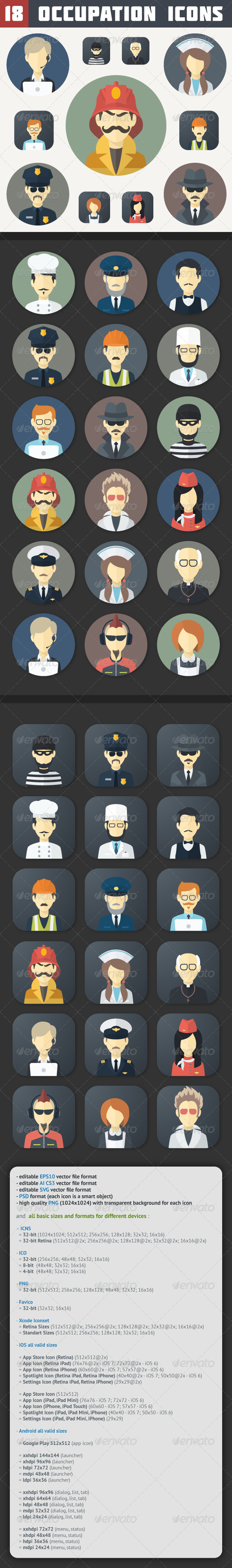 GraphicRiver Flat Occupation Icons Set 6870634