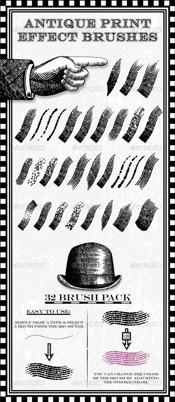 GraphicRiver Antique Print Effect Brushes 6870773