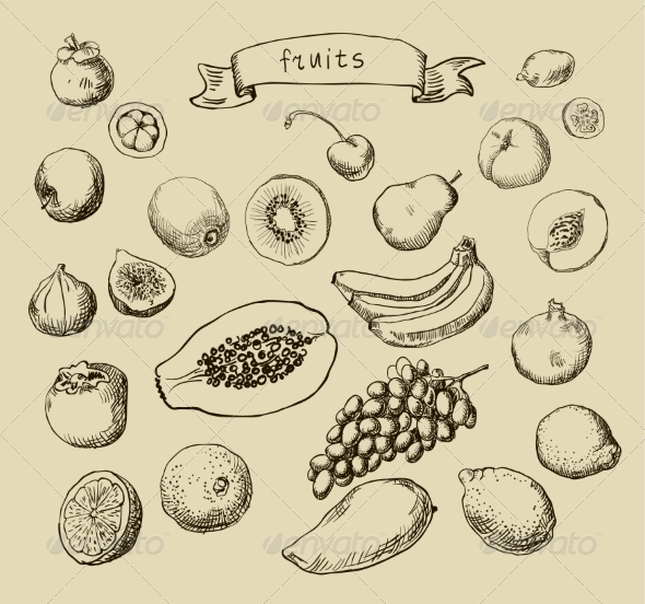 GraphicRiver Fruit Sketches 6872348