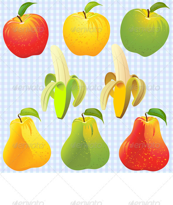 Vector Fruits: Apple, Pear, Banana