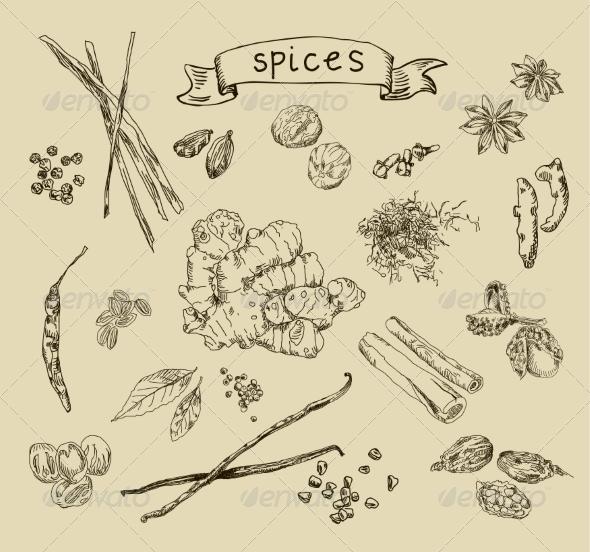 GraphicRiver Spices Sketch 6872522