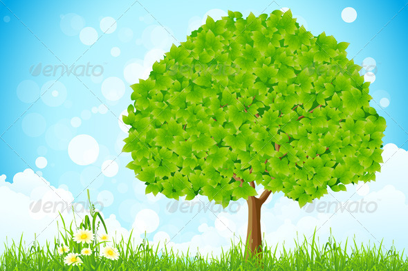 GraphicRiver Green Landscape with Tree 6872708