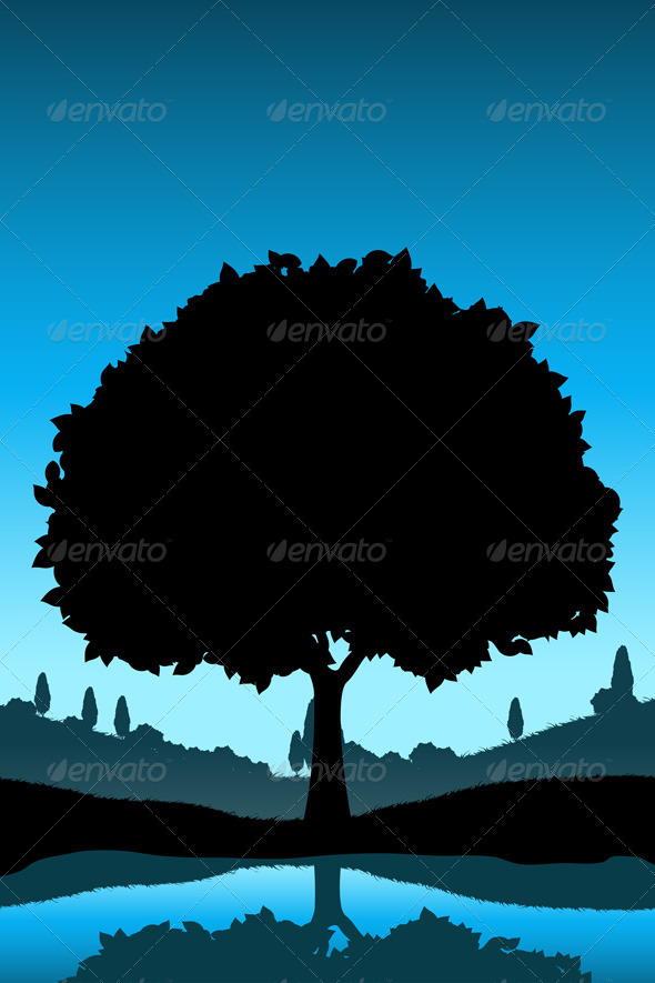 GraphicRiver Nature Landscape with Tree Silhouette 6872710