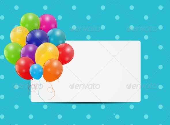 Color Glossy Balloons Card Background