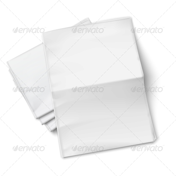 GraphicRiver Blank Newspapers Pile on White Background 6873760