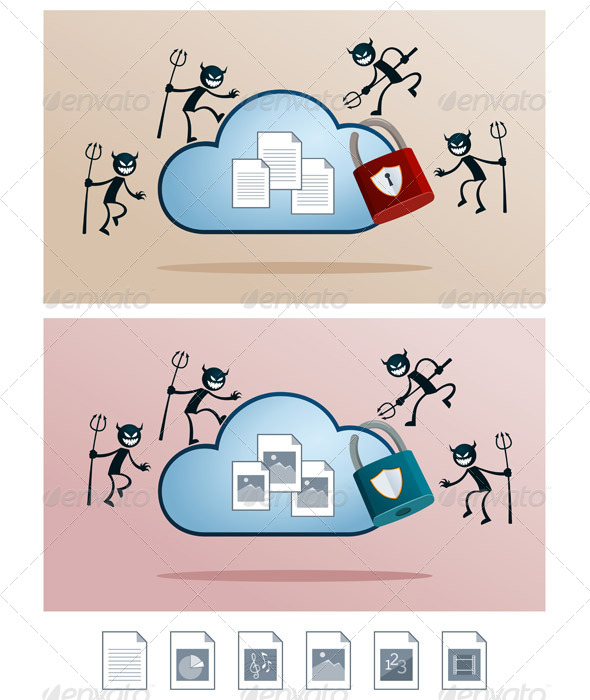 GraphicRiver Cloud Storage Attacked by Computer Virus 6873864