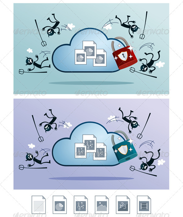 GraphicRiver Cloud Storage Protected From Computer Virus 6873912