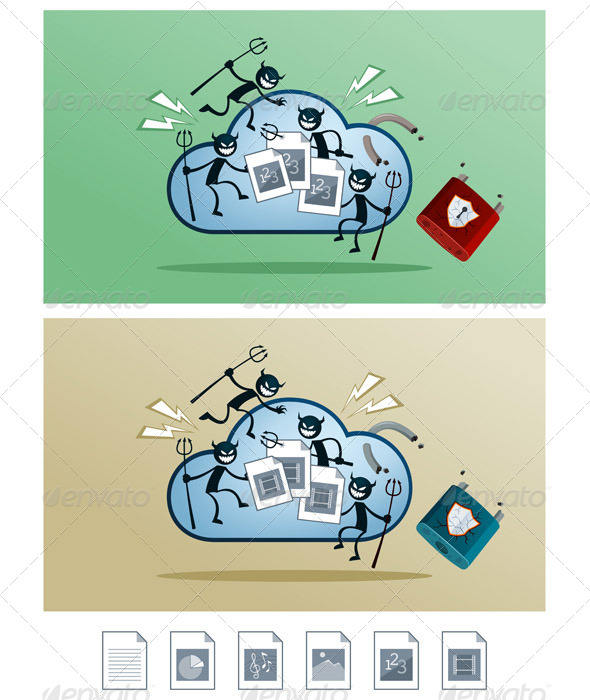 GraphicRiver Cloud Storage Damaged by Computer Virus 6873915