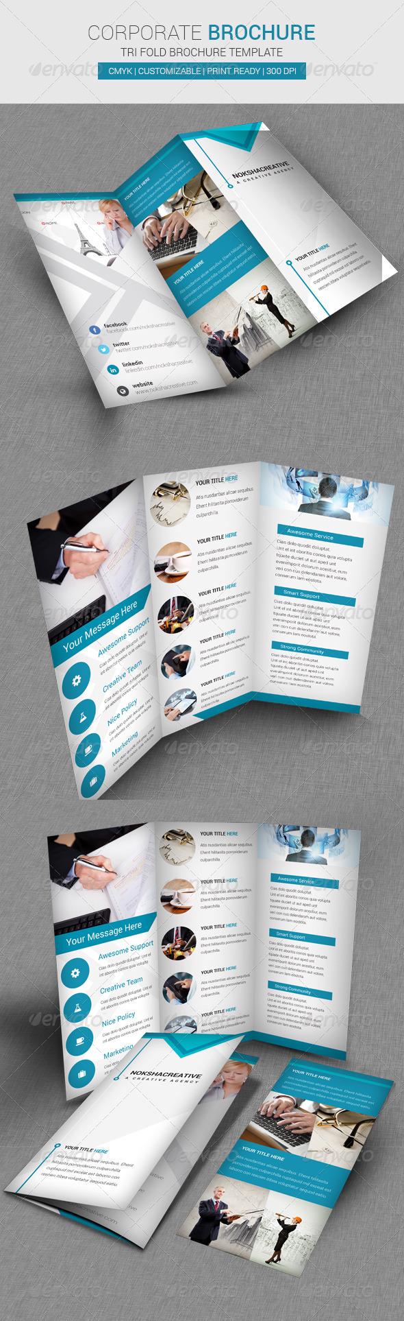 GraphicRiver Corporate Tri Fold Brochure Template 6874226