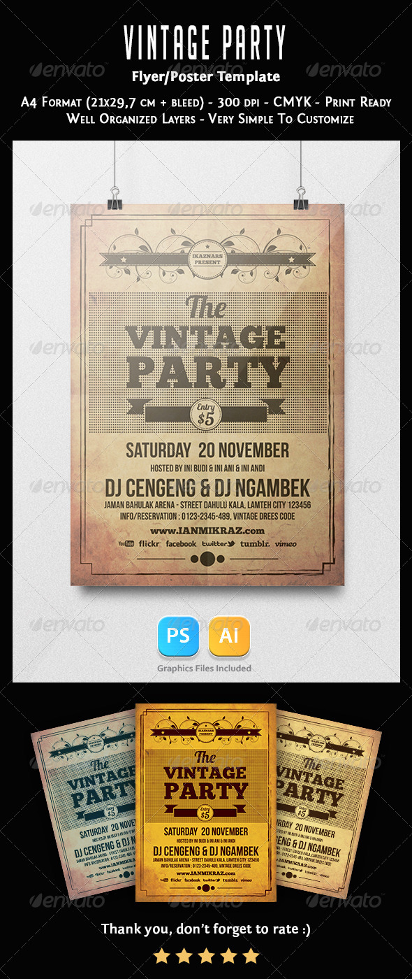 Vintage Party Flyer Template - Clubs & Parties Events