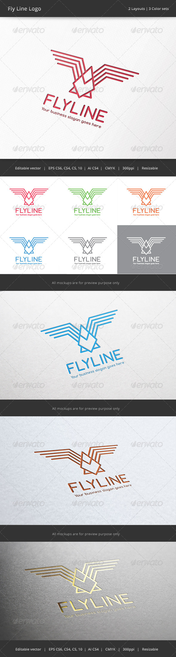 GraphicRiver Fly Line Bird Logo 6874716