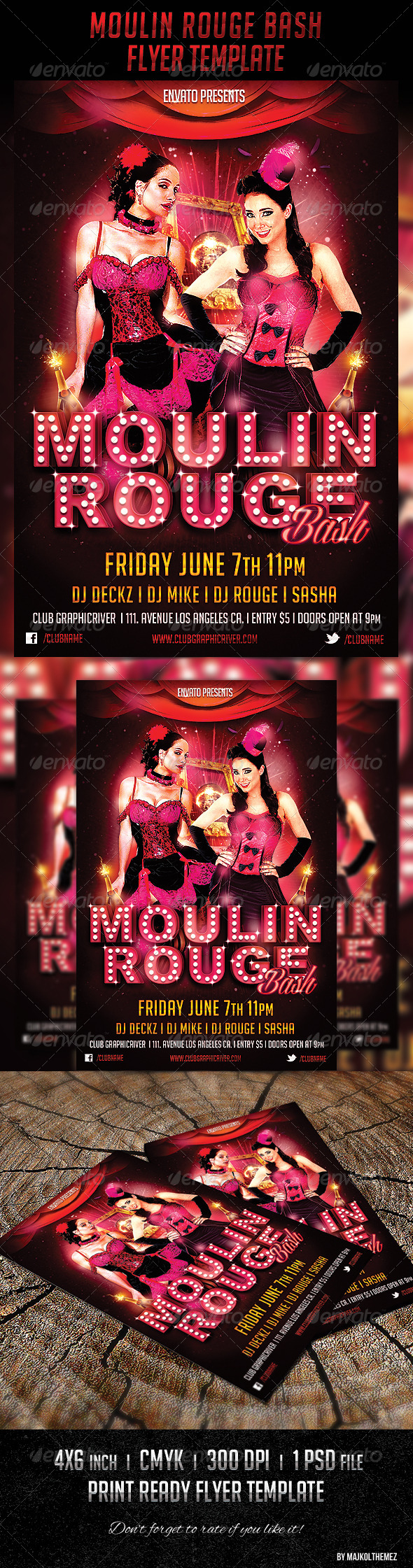 Moulin Rouge Bash Flyer Template - Clubs & Parties Events