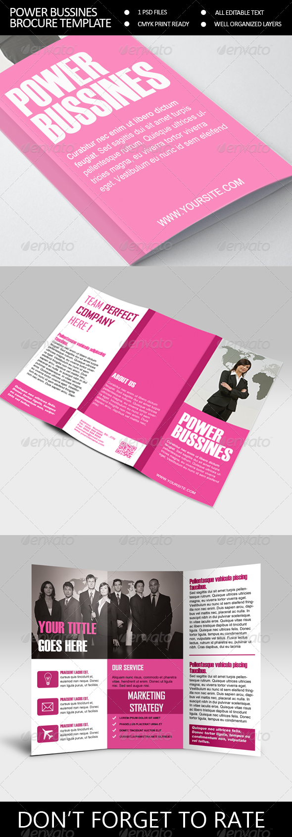 GraphicRiver Power Bussines Trifold Brocure Template 6875907