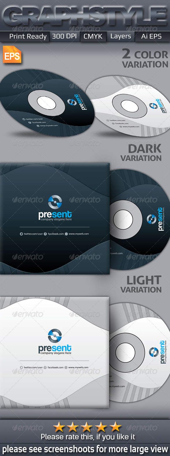 GraphicRiver Present CD sleeve & sticker 6876038