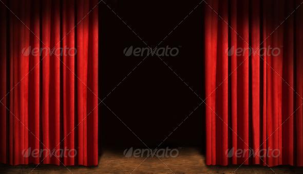 PhotoDune Red drapes and dark background 720006