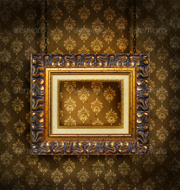 Gold picture frame on antique wallpaper background  - Stock Photo - Images