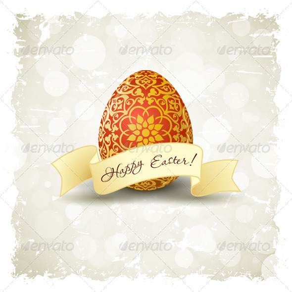 GraphicRiver Grungy Easter Background with Decorated Egg 6876871