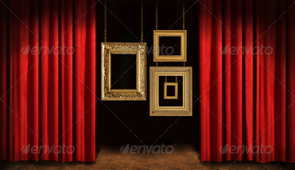 Gold frames with red drapes - Stock Photo - Images