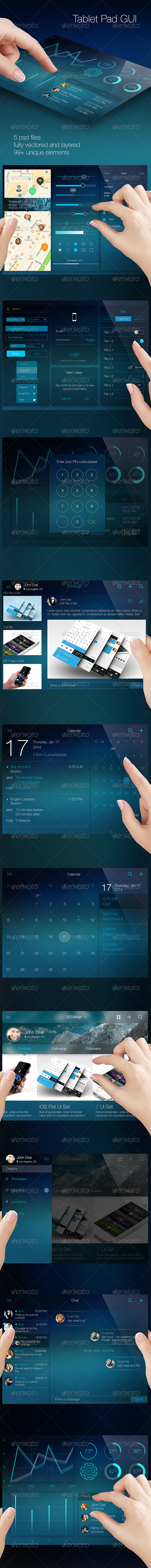 iOS Tablet Flat Pad UI Set Vol. 2 - User Interfaces Web Elements