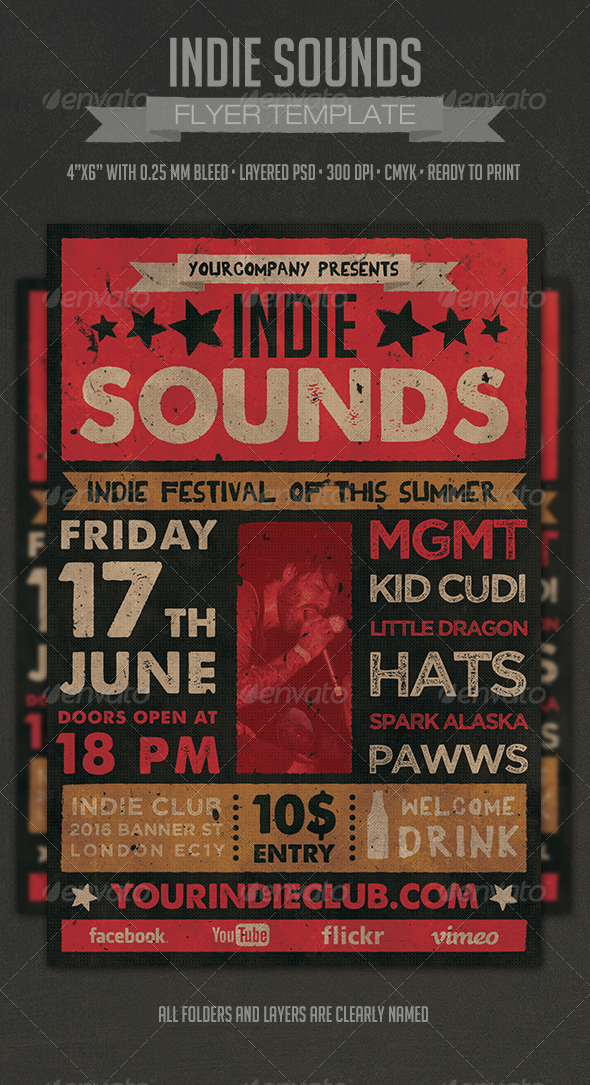 Indie Sounds Flyer - Events Flyers