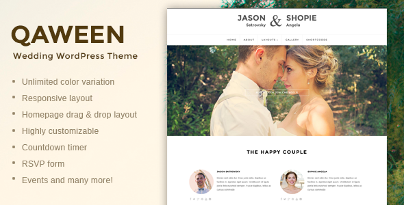 ThemeForest Qaween Responsive WordPress Wedding Theme 6872711