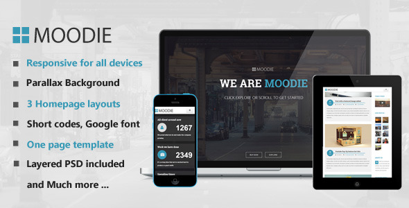 Moodie - Parallax One Page HTML Template