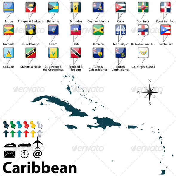 GraphicRiver Political Map of Caribbean 6878213