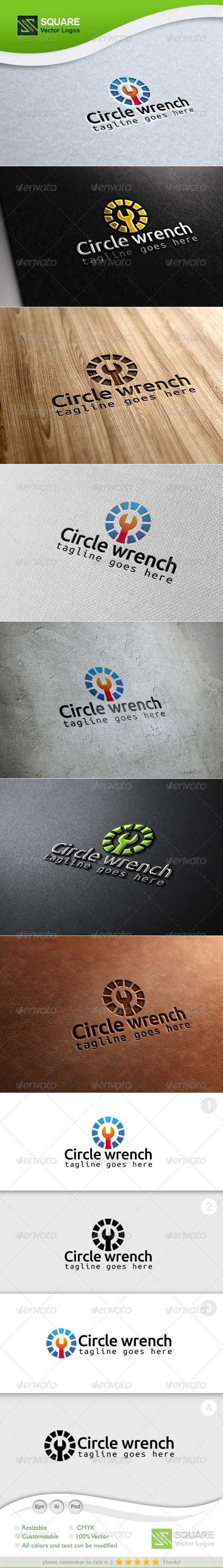 Circle Wrench Vector Logo Template