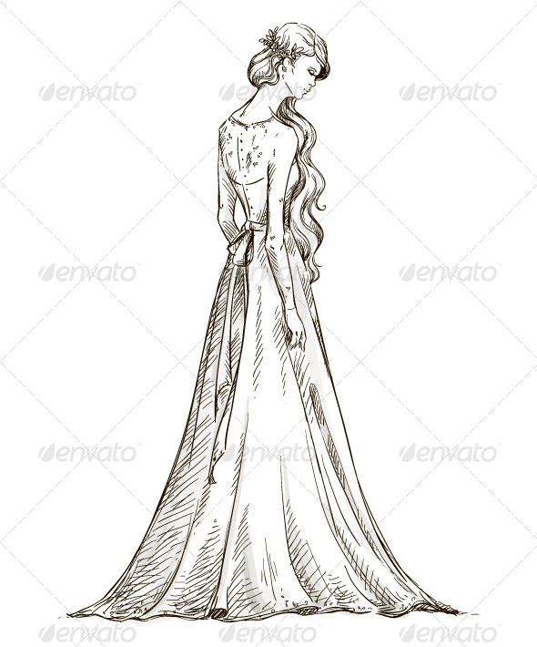 How to draw a girl in a wedding dress image
