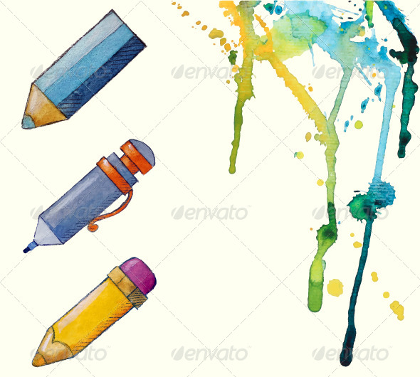 GraphicRiver Painted Pencil Icons 6878466