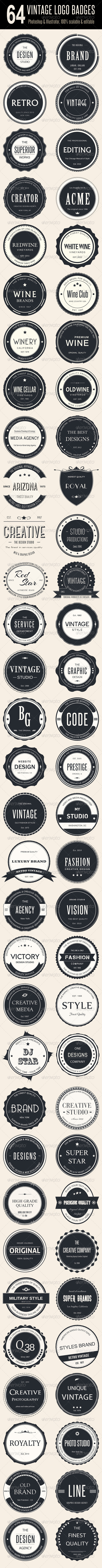 Bundle - 64 Vintage Logo Badges - Badges & Stickers Web Elements