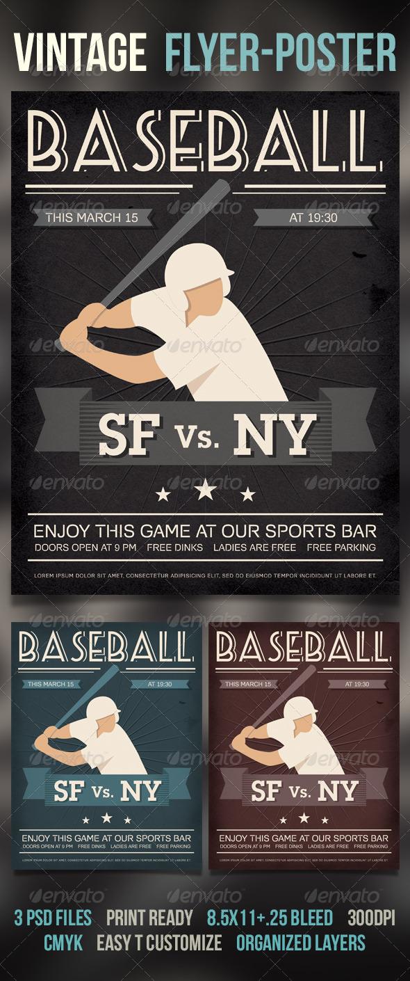 GraphicRiver Baseball Vintage Poster Flyer 6833360