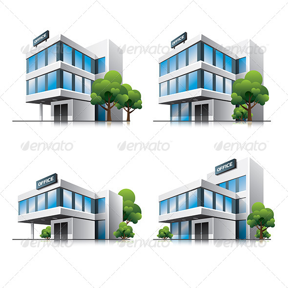 GraphicRiver Office Buildings Cartoon Icons 6879012