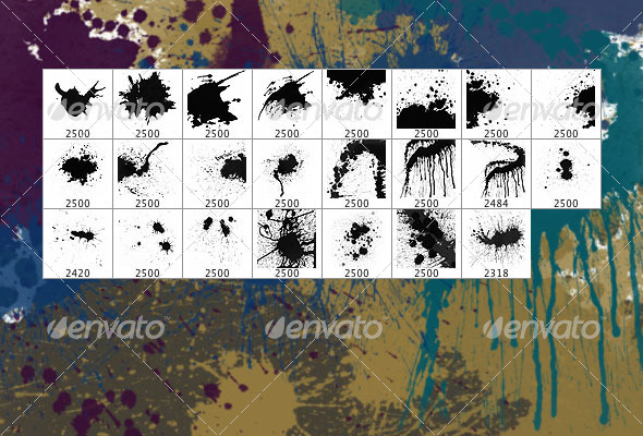 Splatters (set of 23 Photoshop brushes) - Grunge Brushes