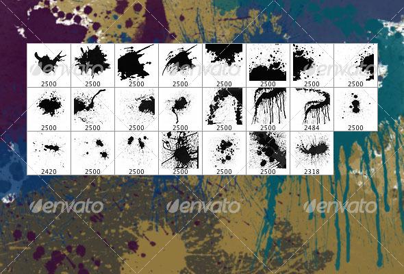 Splatters (set of 23 Photoshop brushes) - Grunge Brushes