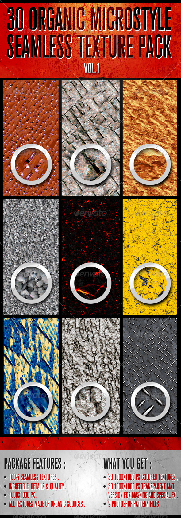 GraphicRiver 30 Organic Micro-Style Seamless Texture Pack 6849590