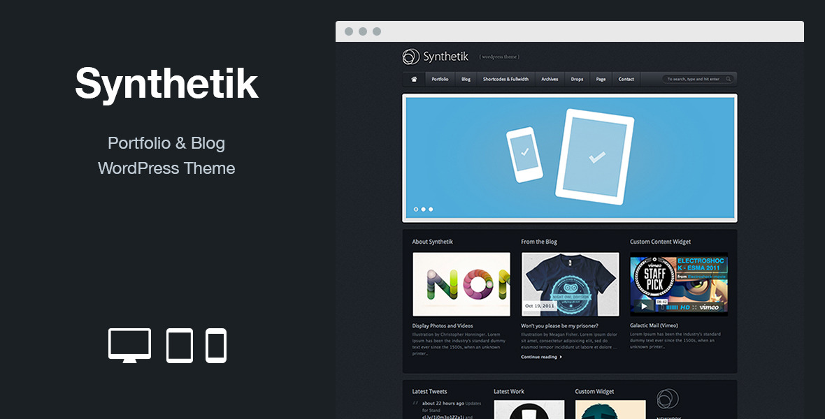 Synthetik: Portfolio & Blog WordPress Theme
