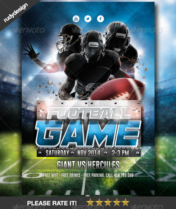 American Football Game Flyer Design Graphicriver
