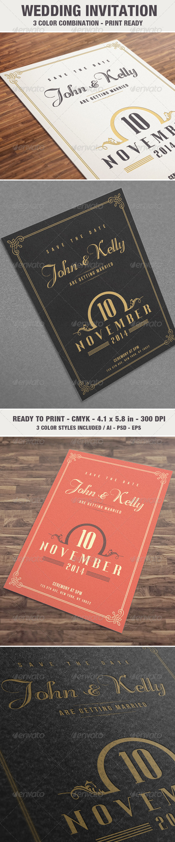 Elegant & Vintage Wedding Invitation Card V2