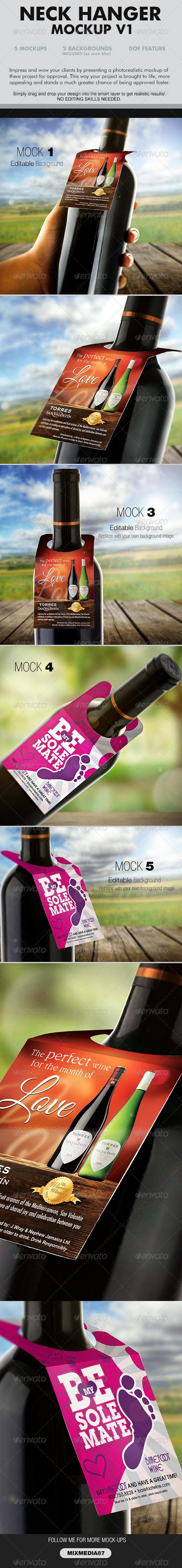 GraphicRiver Wine Neckhanger Mockup 6879990