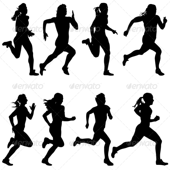 GraphicRiver Set of Running Silhouettes 6880047